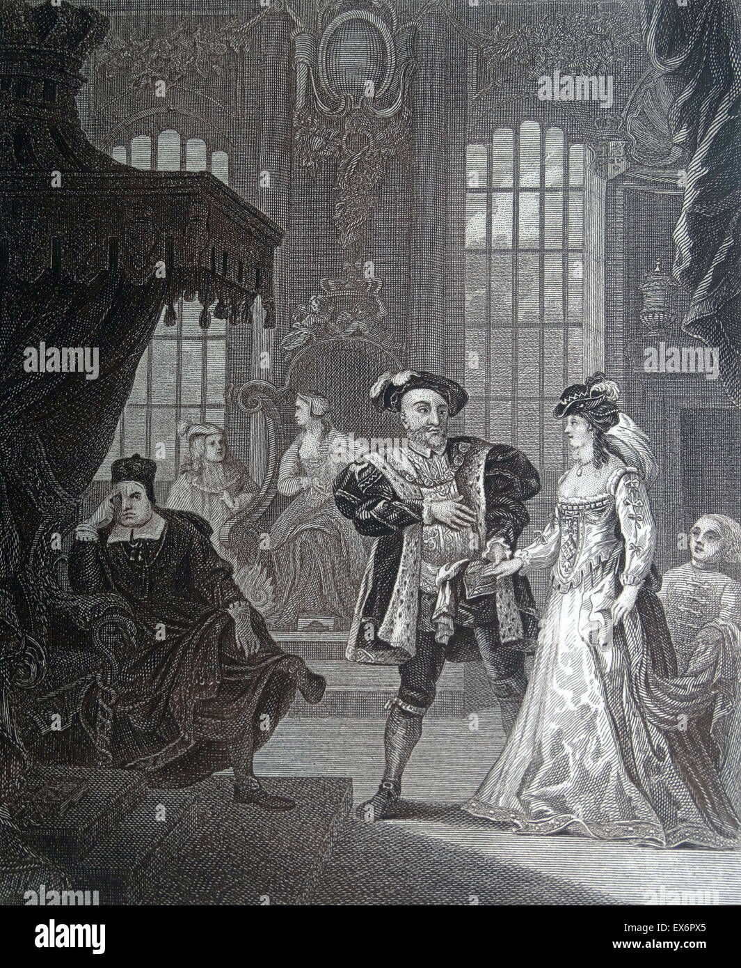 Engraving by British artist & engraver, William Hogarth 1697–1764: King Henry the Eighth & Anna Bullen (Anne Boleyn). Henry confesses the lady-in-waiting of his (1st) wife, Catherine of Aragon, this set back on the throne, his feelings. To the right the a Stock Photo