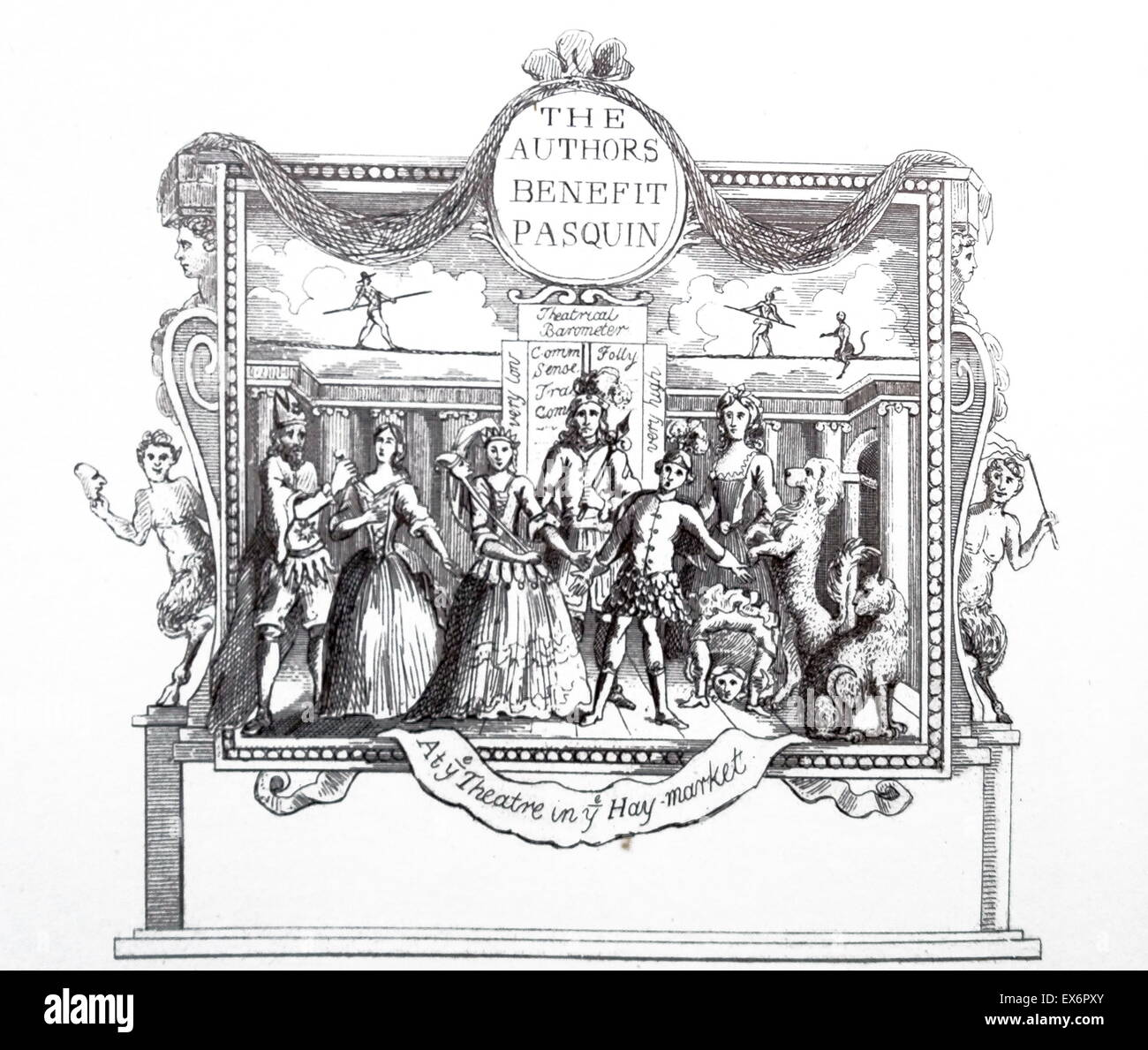Engraving by British artist & engraver, William Hogarth 1697–1764: Ticket for the Theatre - Stock Image