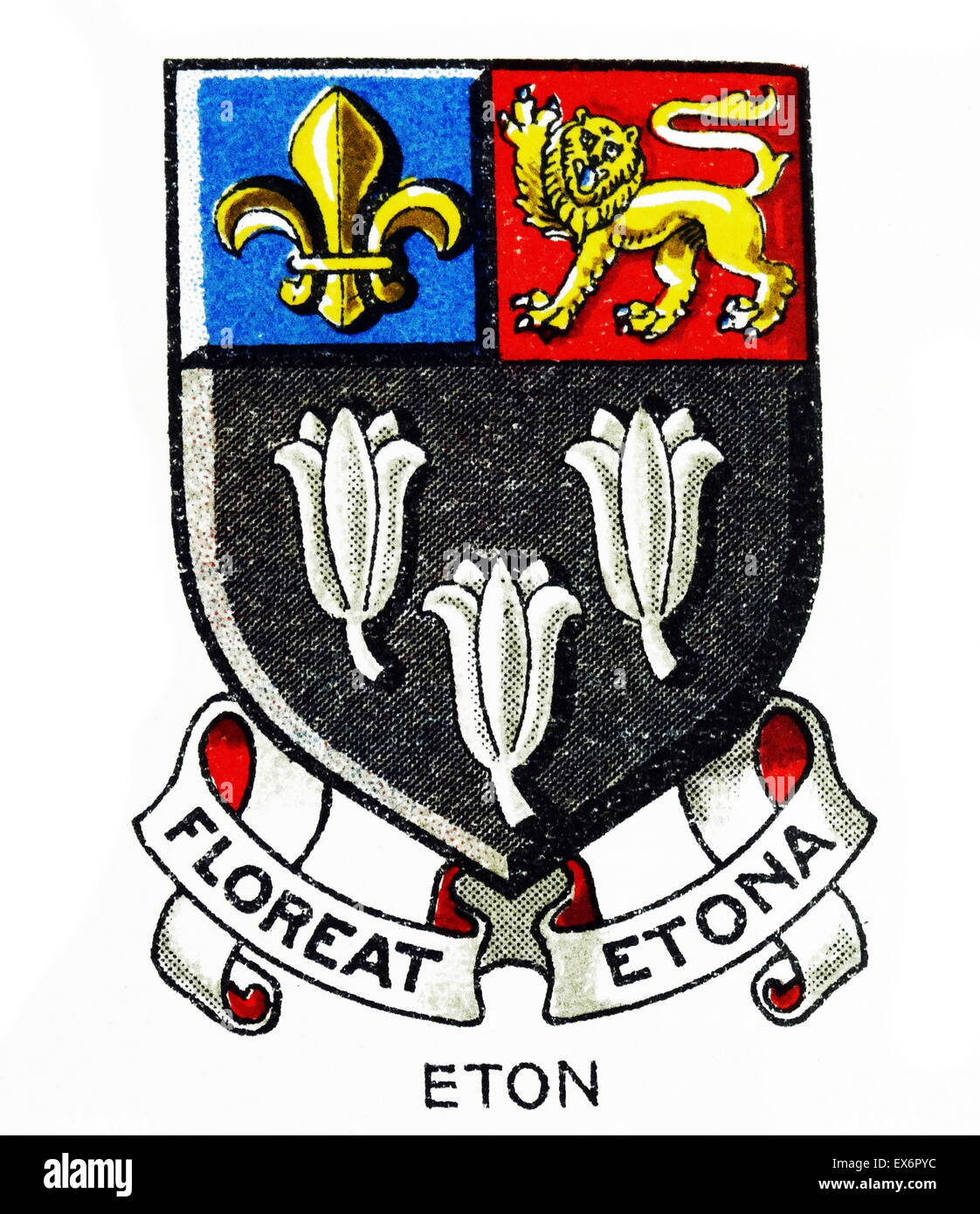 Emblem for Eton College, often informally referred to simply as Eton, an English independent boarding school located - Stock Image