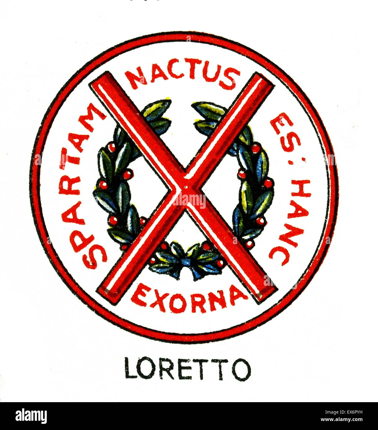 Emblem of Loretto School, Musselburgh, East Lothian, Scotland. Loretto School is an independent boarding and day - Stock Image