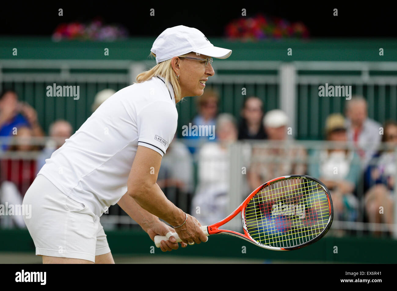 Wimbledon, UK. 08th July, 2015. The Wimbledon Tennis Championships. Ladies Invitation Doubles match between Tracy Stock Photo