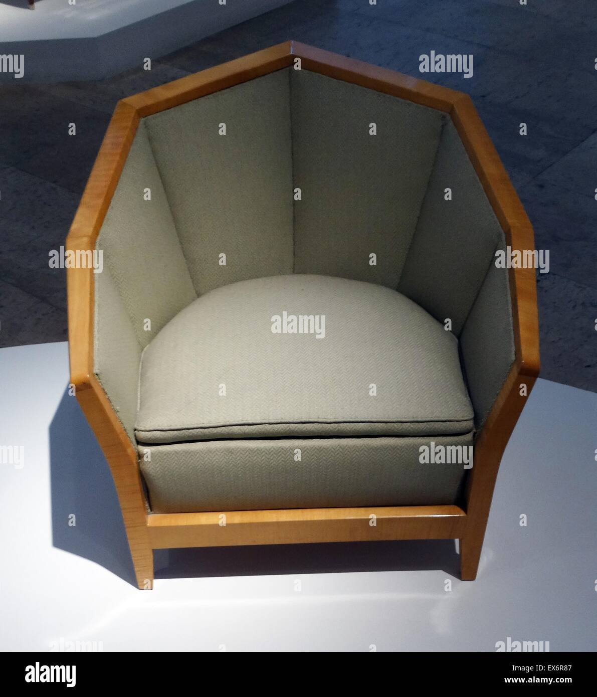 Hexagonal chair created by Pierre Chareau (1883-1950) a French architect and designer. Dated 1920 - Stock Image