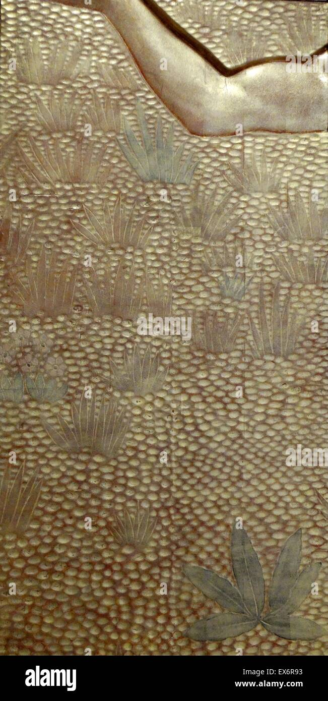 Stucco panels with gold lacquer titled 'Sports' by Jean Dunand, a French lacquer, sculptor, dinandier (copper - Stock Image