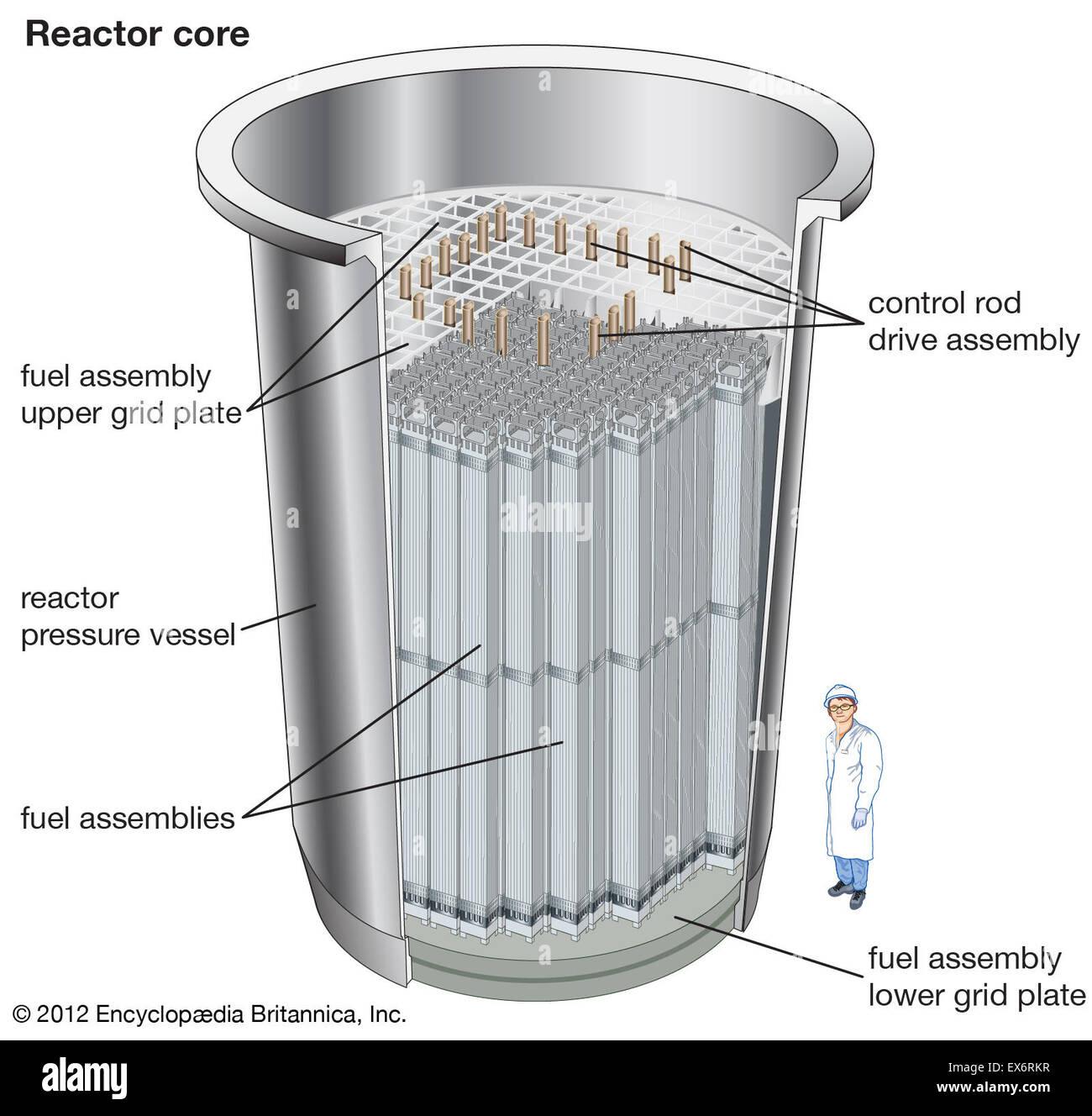 Pressurized-water reactor: reactor core - Stock Image