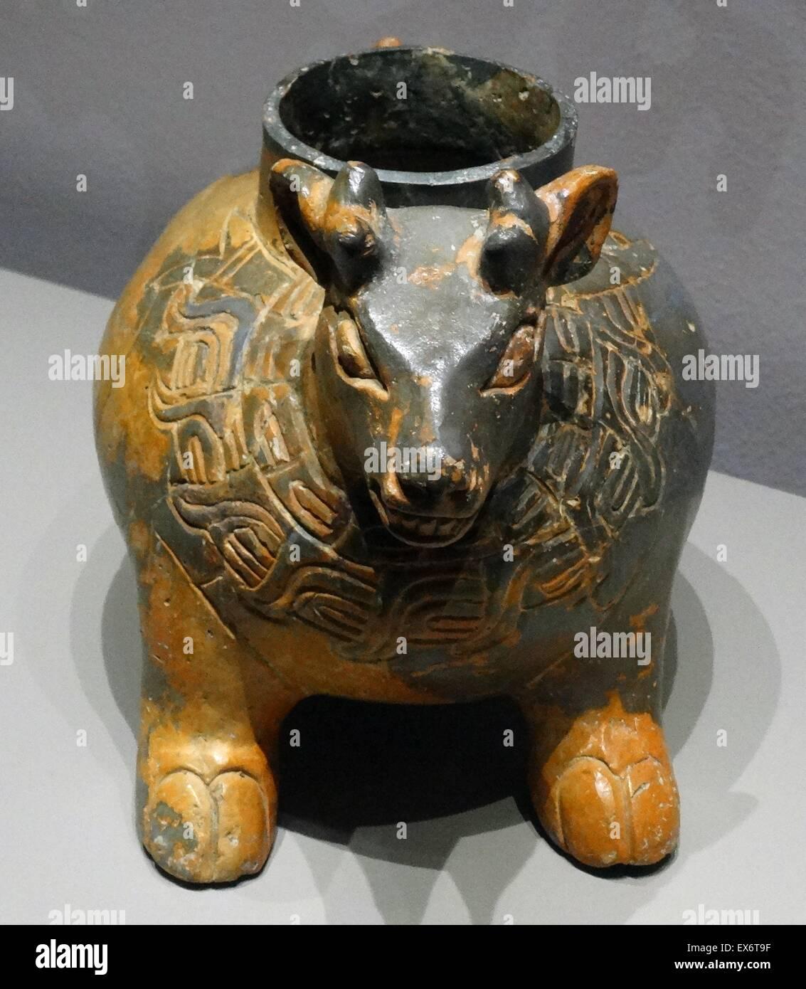 Mayan zoomorphic Pot, from Uxmal, Yucatan, Mexico. Post classic (900-1250 AD) Ceramic. - Stock Image