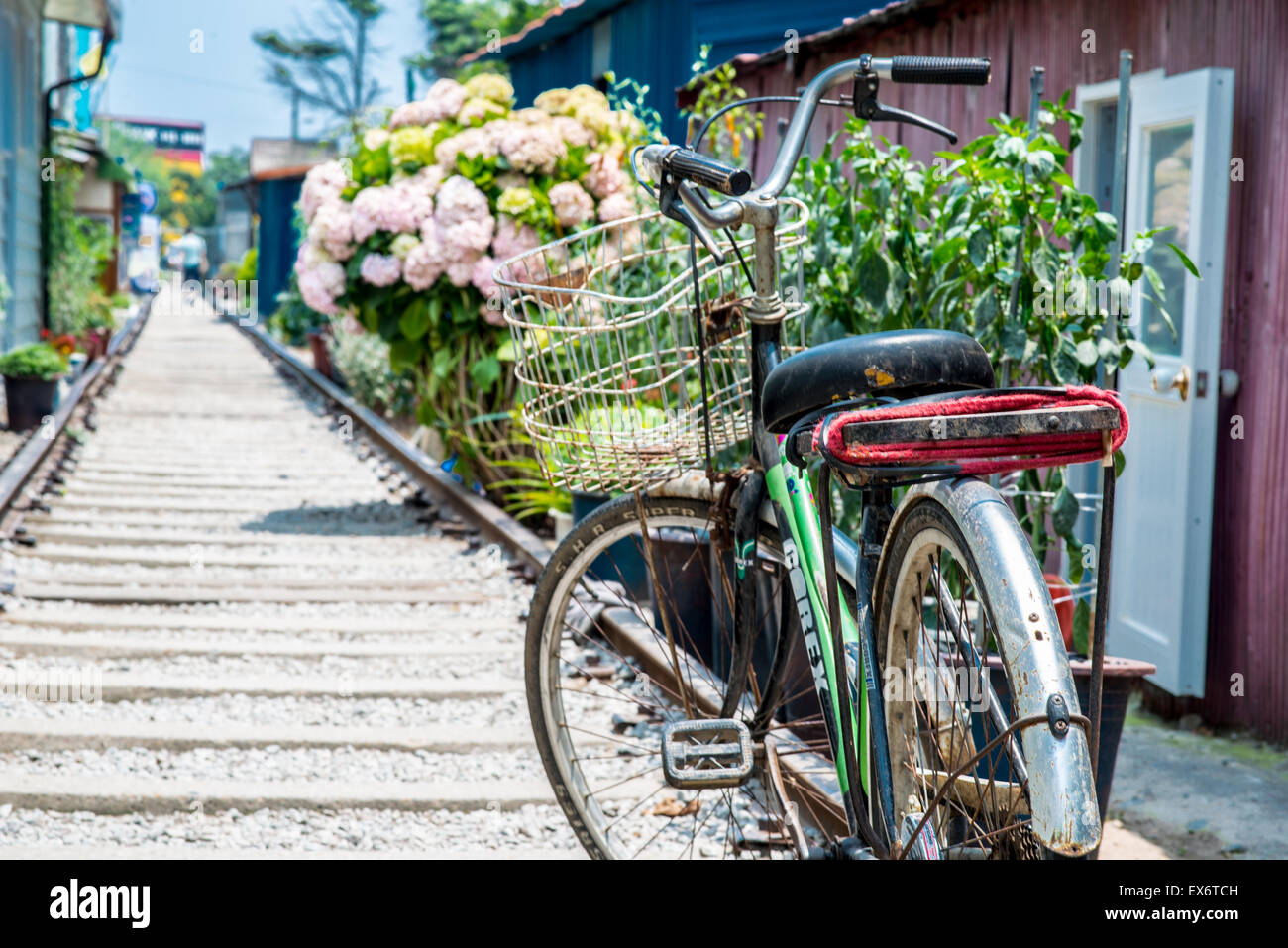 Something special in Gunsan - the bicycle and the railway - Stock Image