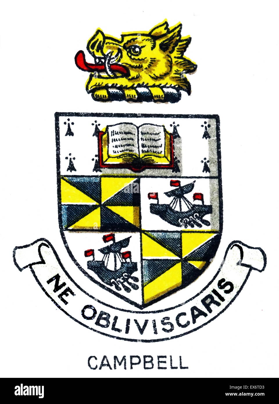 Emblem for Campbell College, Belfast, Northern Ireland, a voluntary grammar school. The college was founded in 1894. Stock Photo