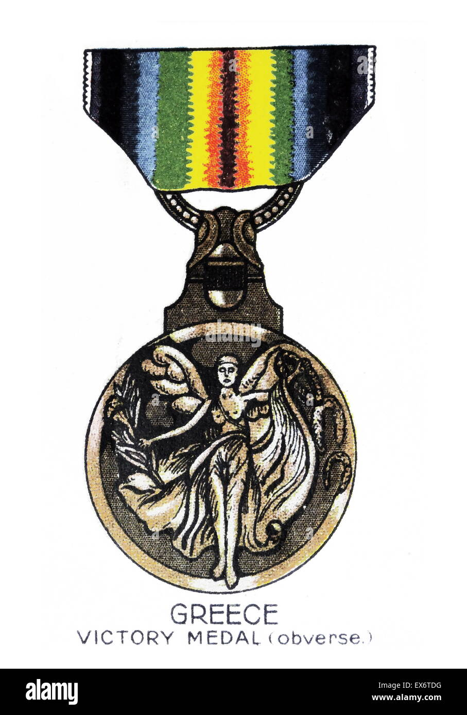 The Inter-Allied Victory Medal (obverse) is a campaign medal issued by Greece, commemorating the Allied victory - Stock Image