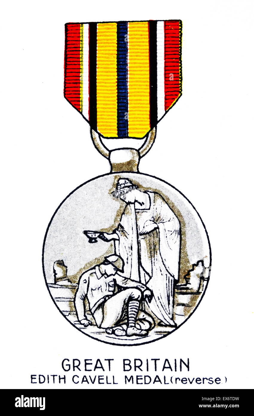 Great Britain, Edith Cavell Medal (reverse), World War 1. - Stock Image