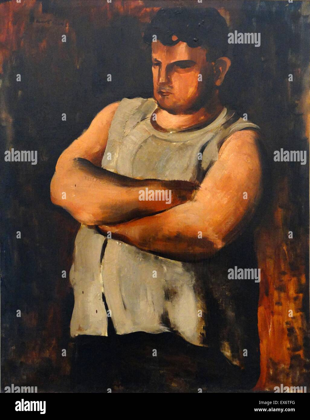 Portrait de Marcel Castel L'Hercule by Jean Fautrier (1898-1964). Oil on canvas, 1925. Fautrier was a French - Stock Image