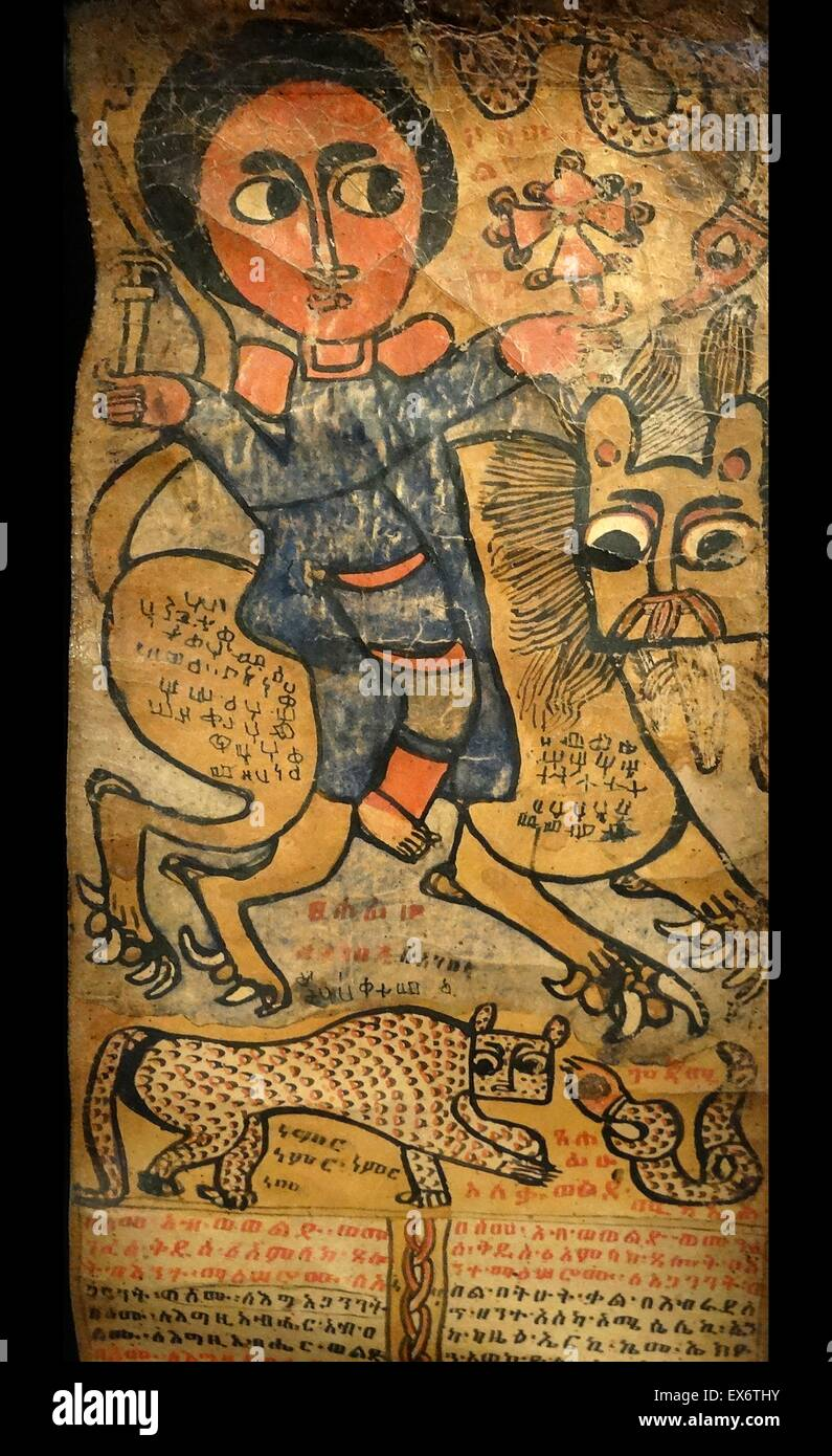 Samuel on a lion. Saint Samuel led a hermit life in the desert of Waldebba. He is reputed to have tamed wild animals - Stock Image