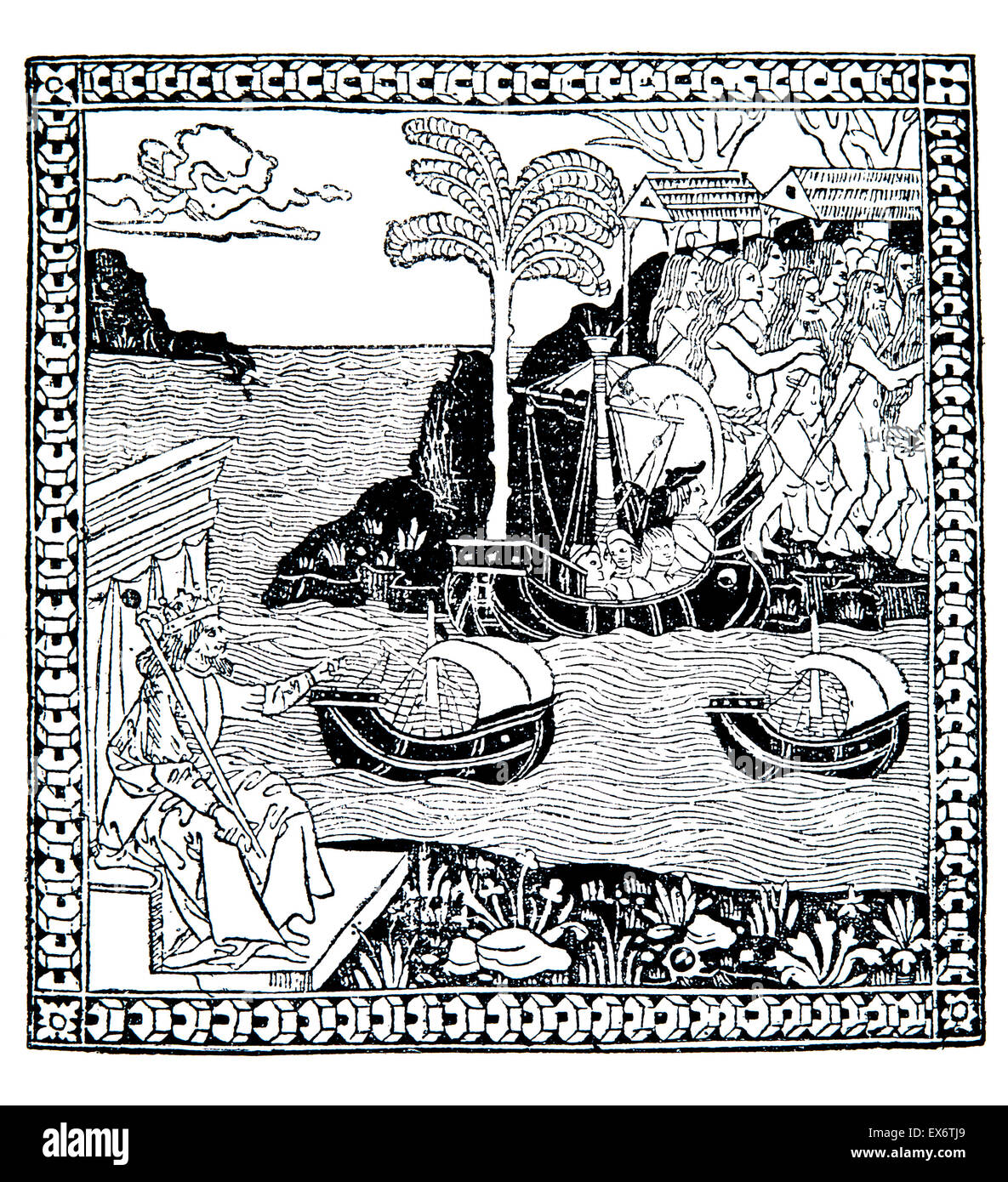 The Discovery of the Indes, 1493, woodcut Italian School illustration of Columbus' voyage - Stock Image