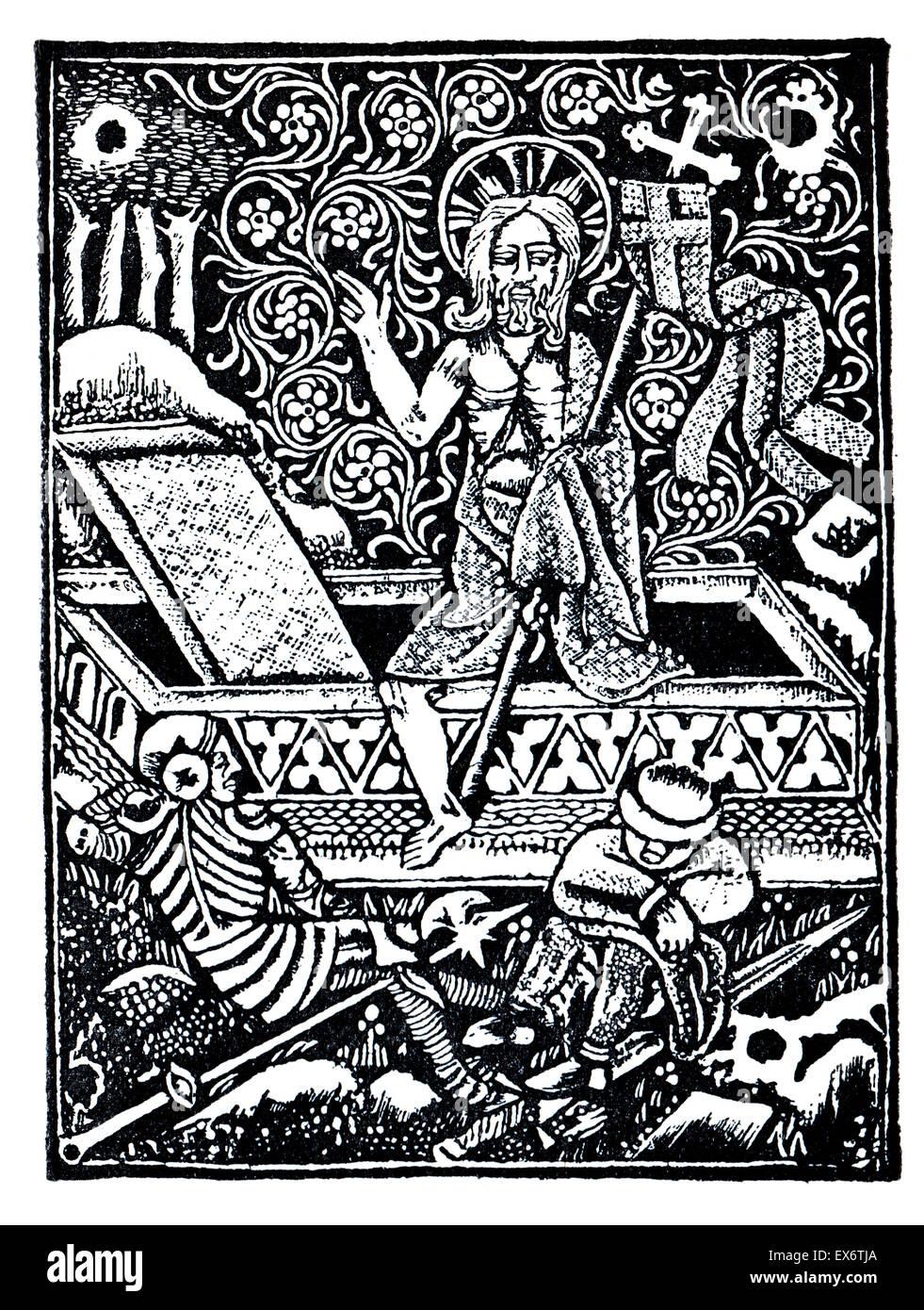 Leiden Christi, 1470 German woodcut  illustration of Christ rising from the dead - Stock Image