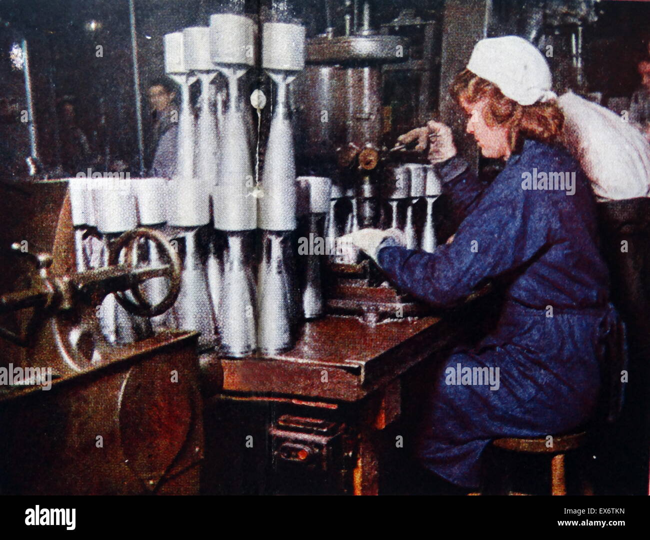 Woman manufacturing armaments in a factory USA World war two 1942 - Stock Image