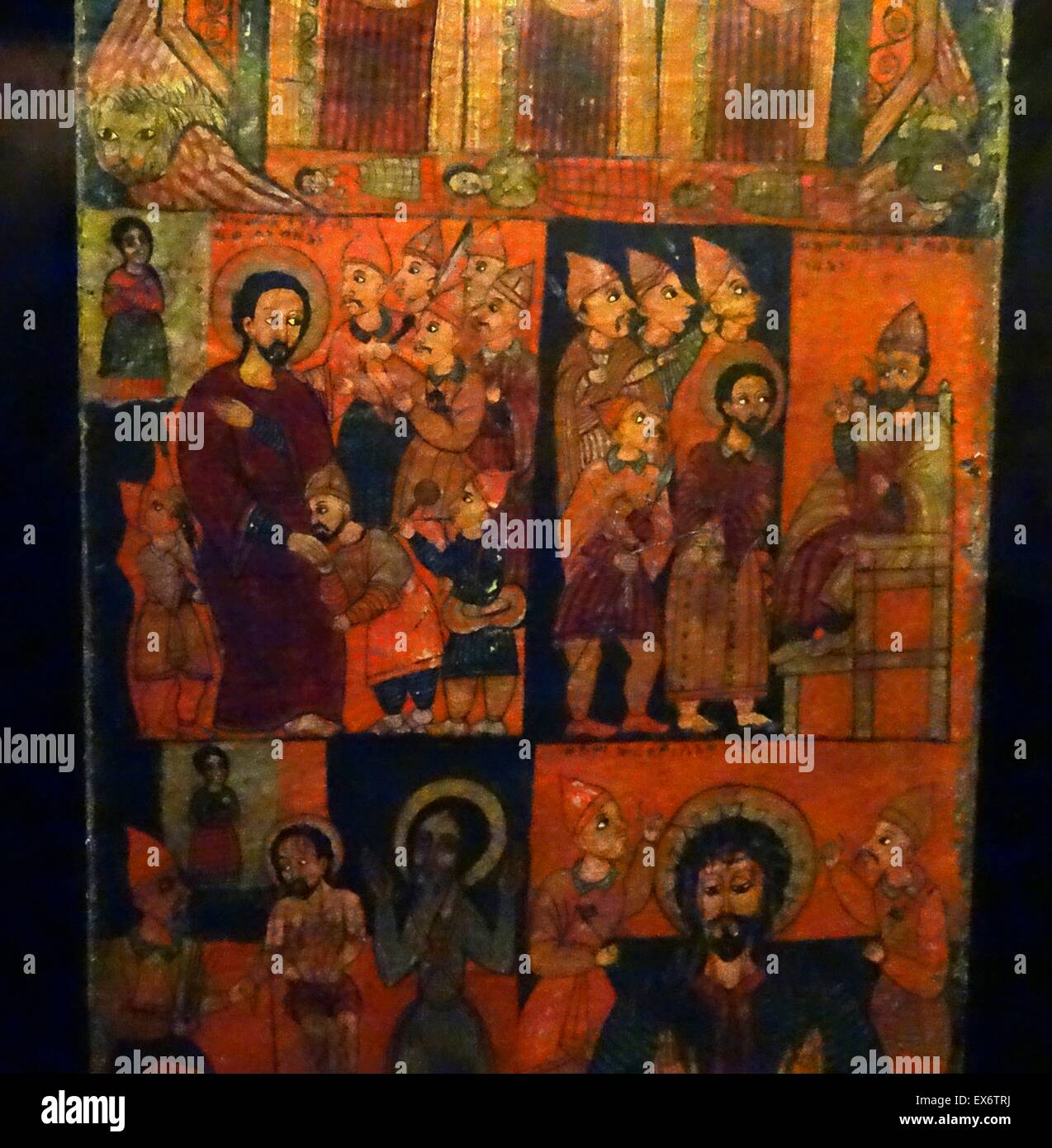 The Passion of the Christ. Christian painting. From the diptych of the church of Qaha Iyasus. From Ethiopia. - Stock Image