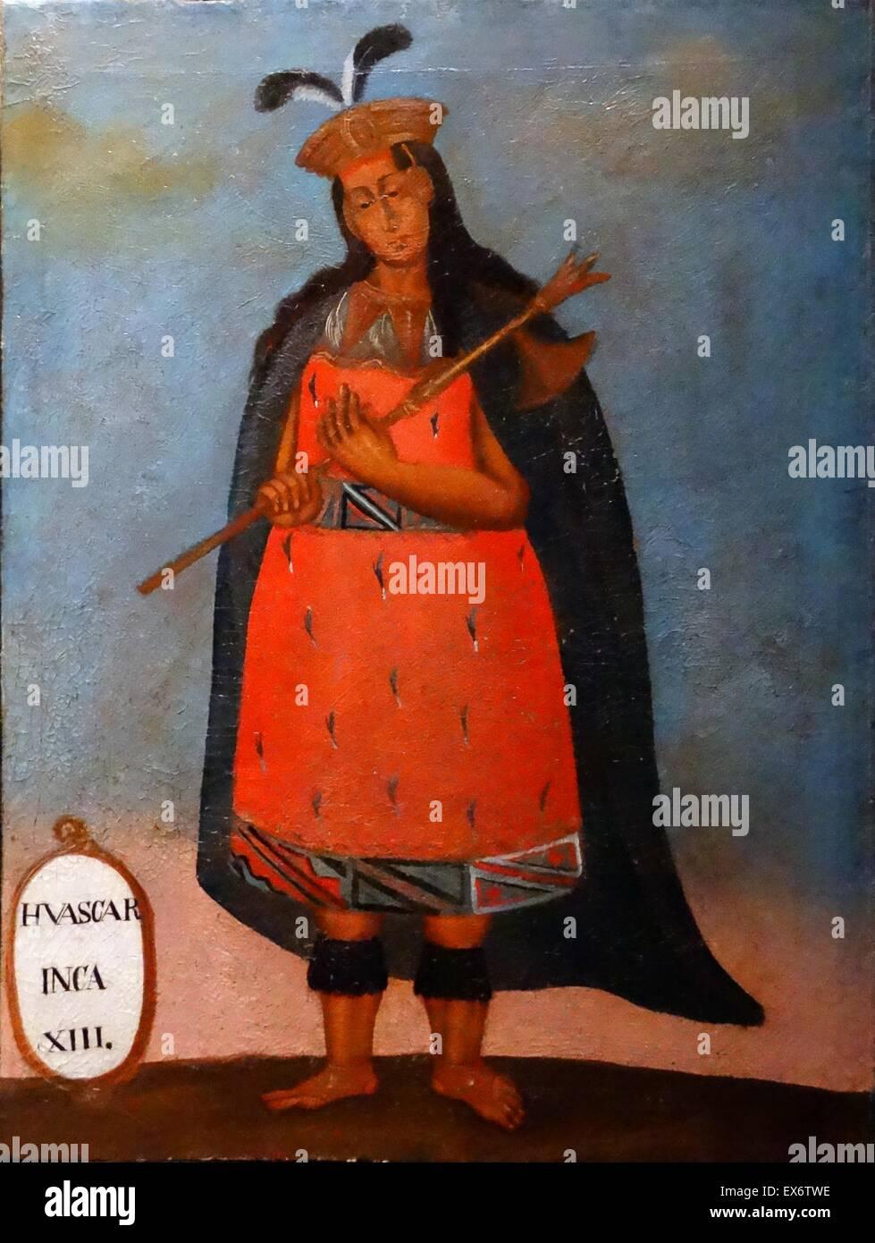 Spanish colonial portrait of the Inca King Huáscar Inca, 1503–1532. Sapa Inca of the Inca Empire from 1527 - Stock Image