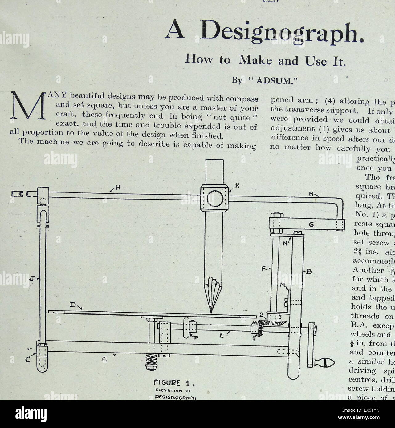 Schematic plan for making a Designograph drawing machine 1938 Stock ...