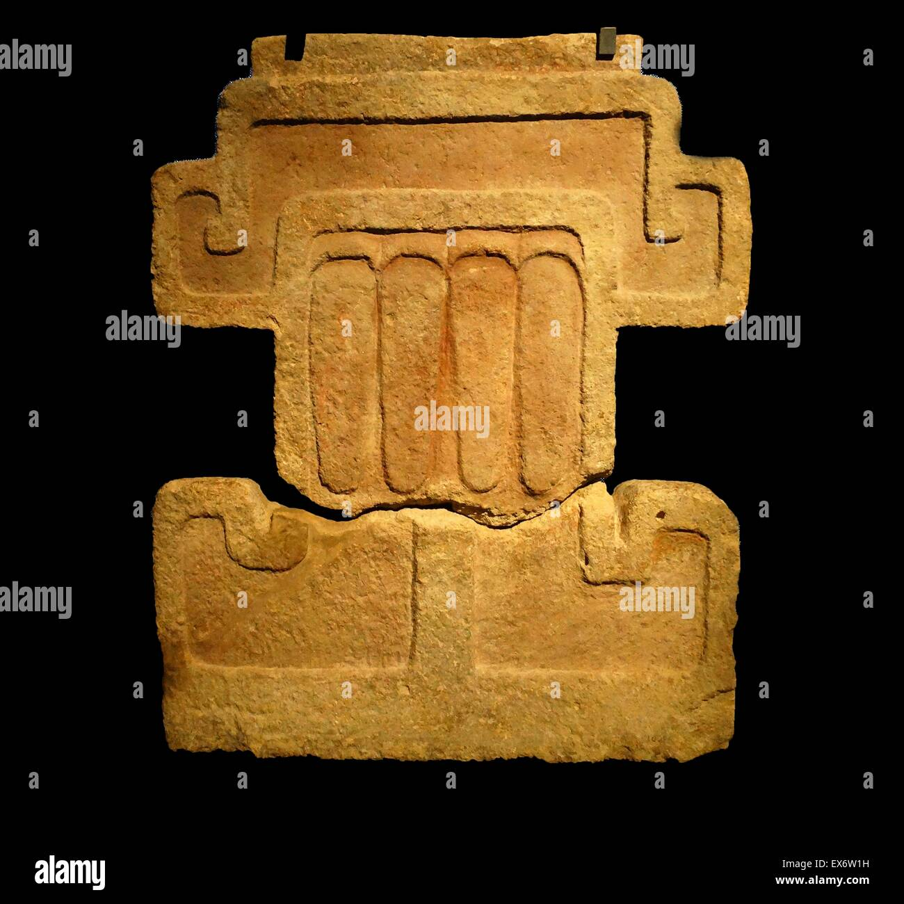 Part of an Aztec 150-650 AD ornamental façade symbolising the Rain God, Tlaloc. From Teotihuacan; Mexico - Stock Image