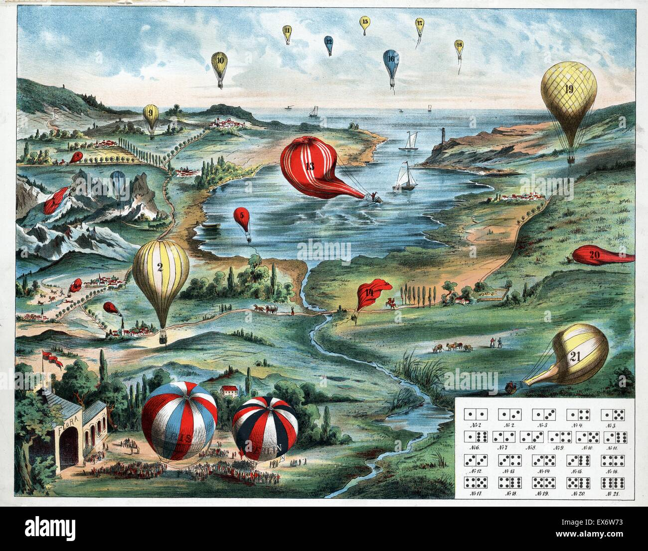 game board and instructions depicts a varied landscape and waterfront filled with numbered balloons. Dated 1890 - Stock Image