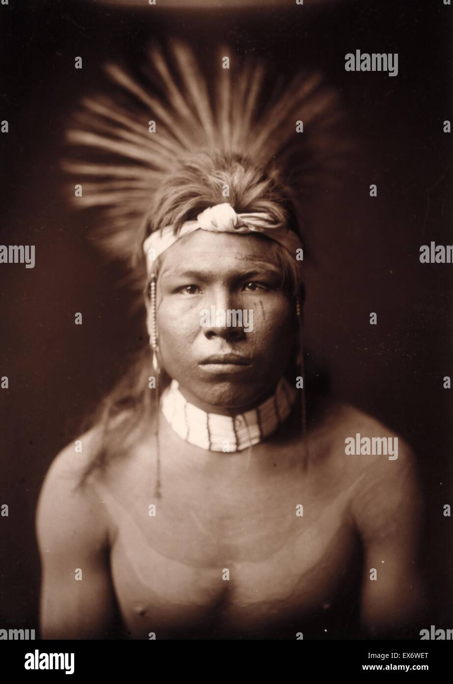 Photographic print of Black Hair photographed by Edward Sheriff Curtis (1868-1952) American ethnologist and photographer - Stock Image