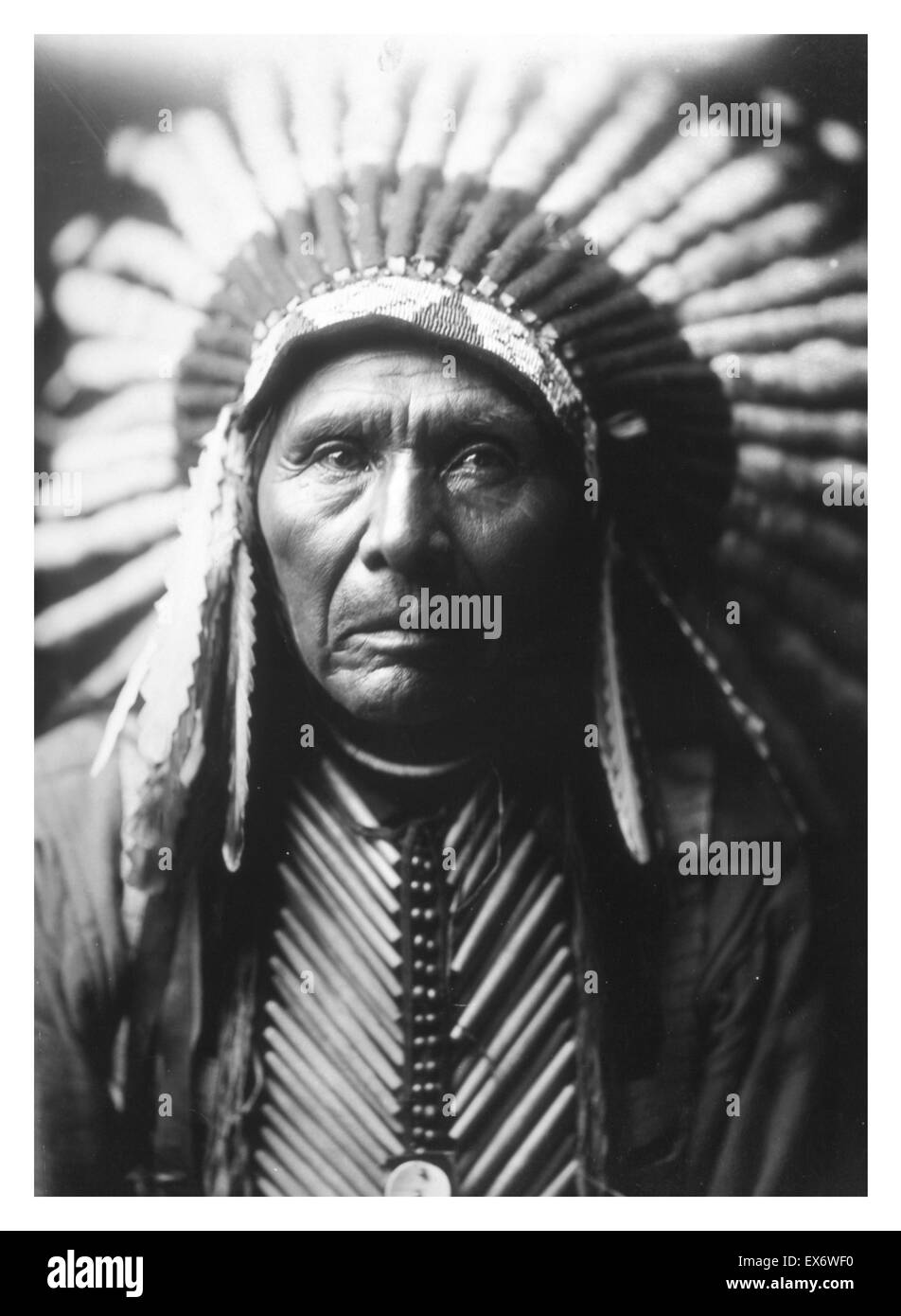 Photographic print of Chief Three Horses photographed by Edward Sheriff Curtis (1868-1952) American ethnologist - Stock Image
