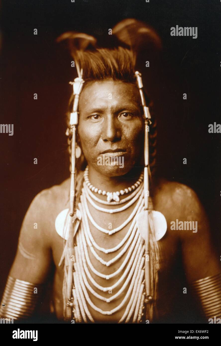 Photographic print of Ben Long Ear photographed by Edward Sheriff Curtis (1868-1952) American ethnologist and photographer - Stock Image