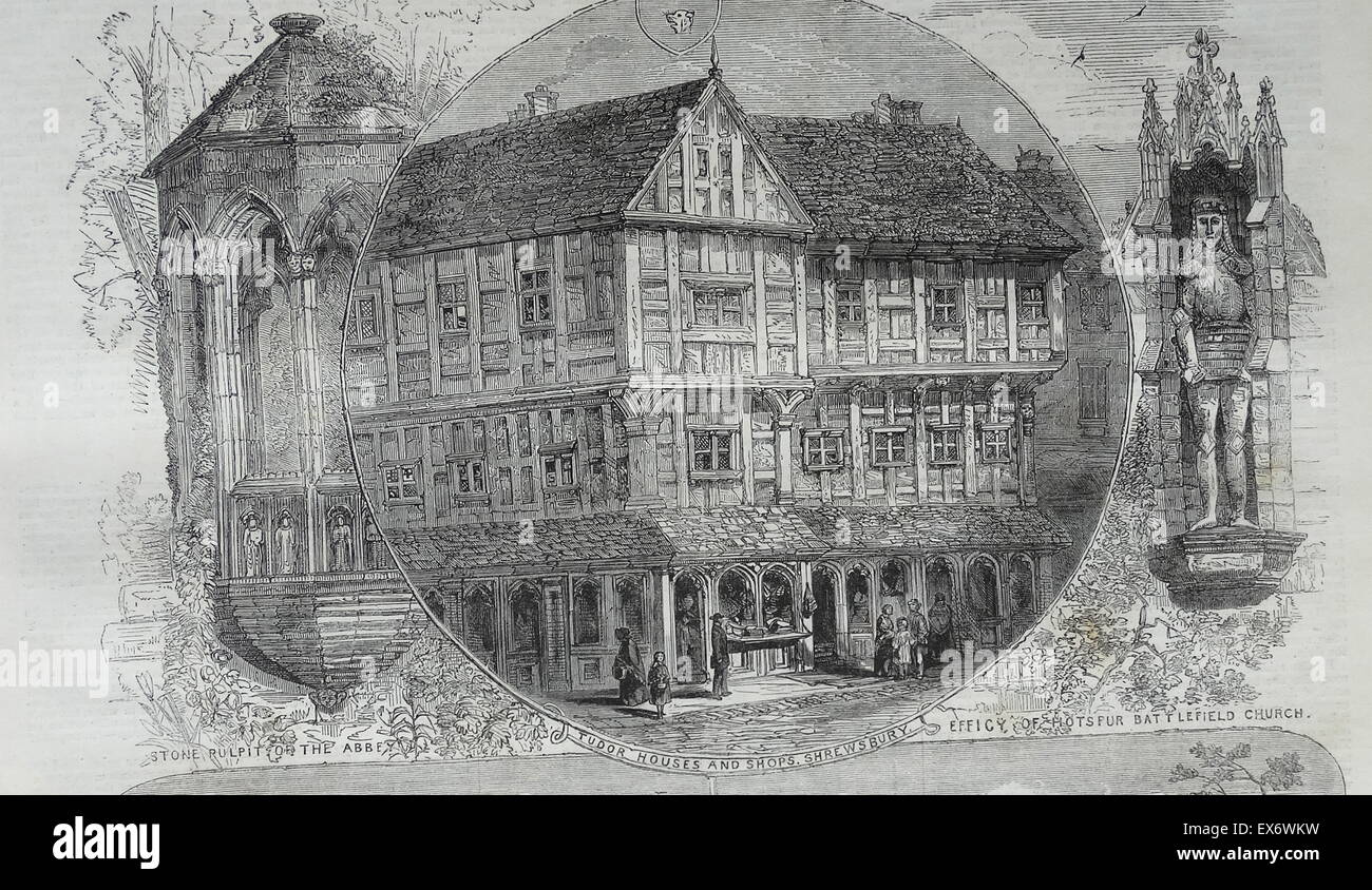 Tudor style buildings and shops in Shrewsbury; England 1860 - Stock Image