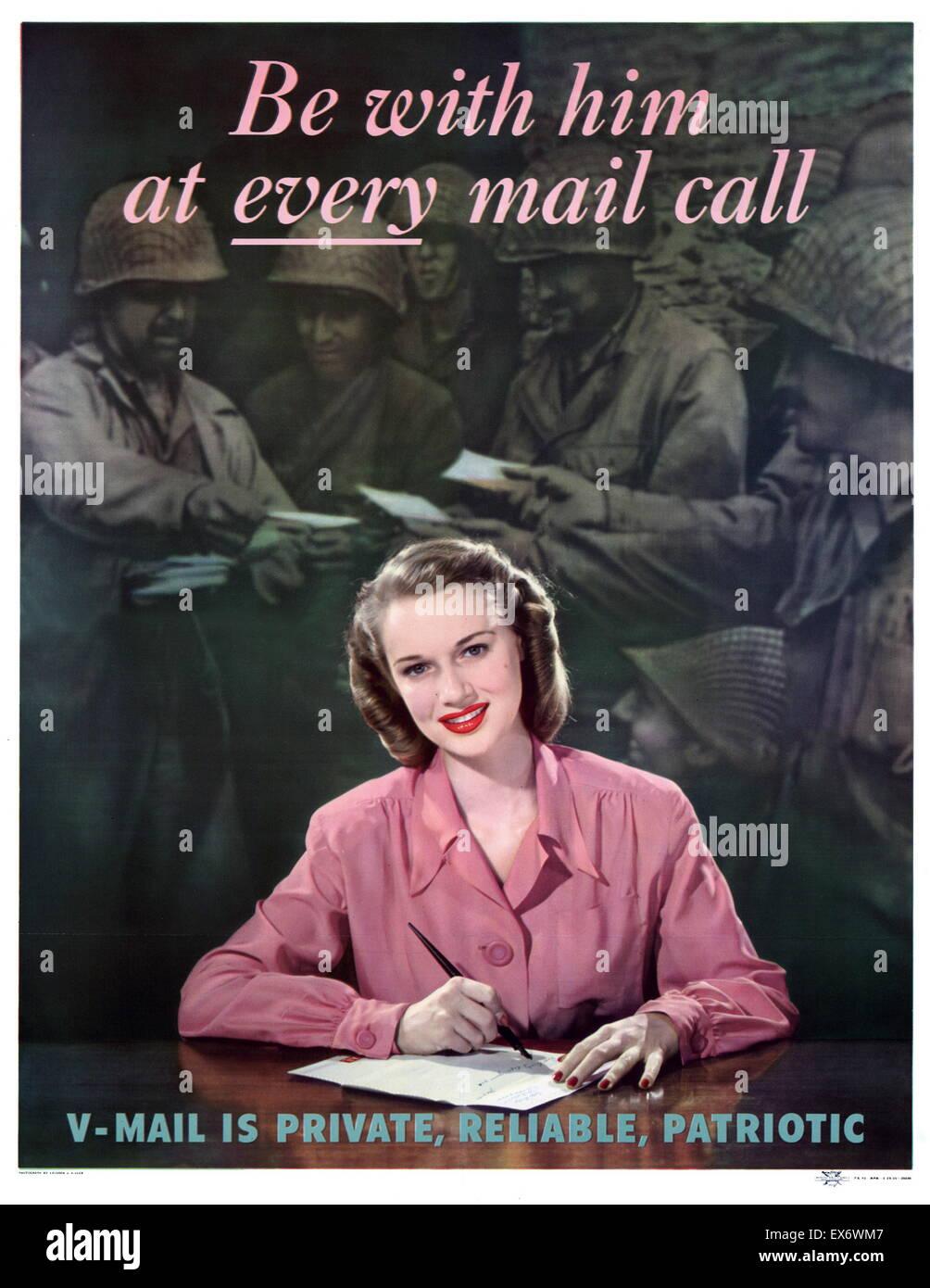 World War Two American Propaganda Poster Encouraging