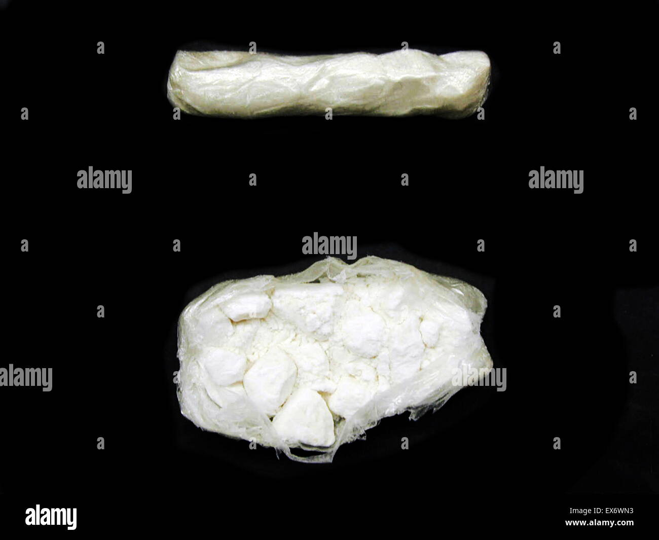 Cocaine (INN) (benzoylmethylecgonine, an ecgonine derivative) is a tropane alkaloid that is obtained from the leaves - Stock Image