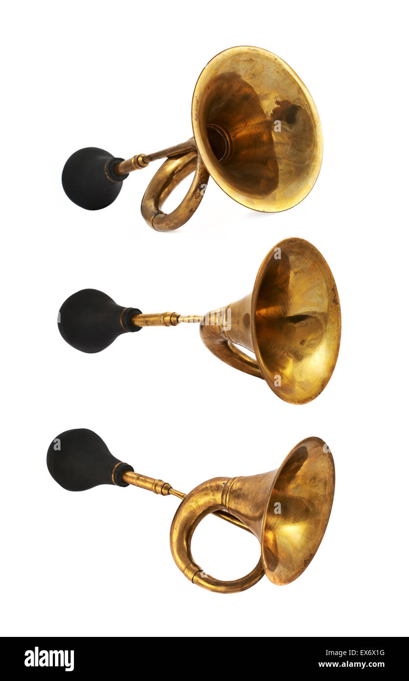 Horn klaxon instrument isolated - Stock Image