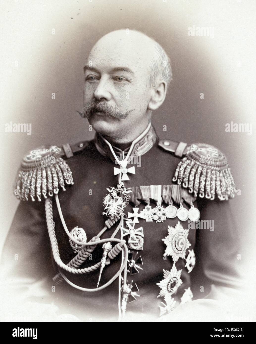 Portrait of Konstantin von Kaufman I (1818-1882) first Governor-General of Russian Turkestan. Dated 1905 - Stock Image