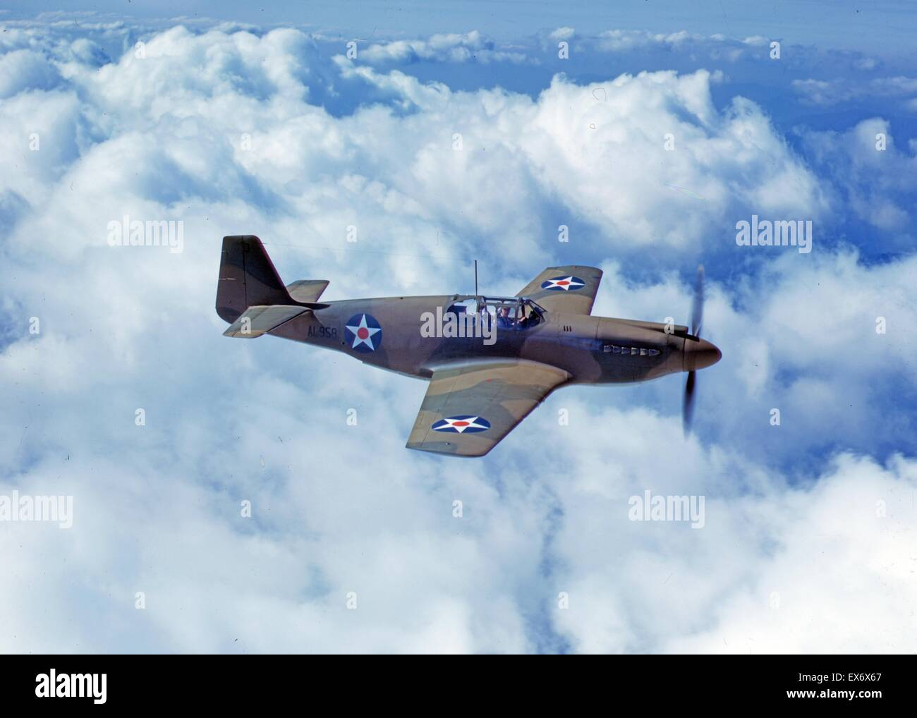 North American's P-51 Mustang Fighter is in service with Britain's Royal Air Force, N.A.A. Inc., Inglewood, - Stock Image