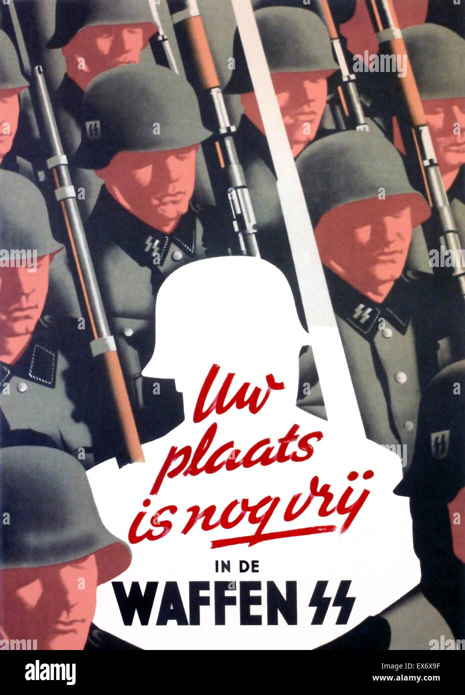 Nazi propaganda poster to recruit Dutch Waffen SS volunteers. 'Nazi; Your Place is Still Vacant in the Waffen - Stock Image