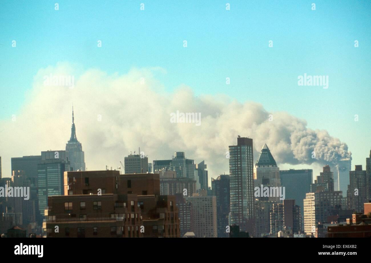 The September 11 (or 9/11) Islamic terrorist group al-Qaeda attacks on New York City, September 11, 2001. Two of - Stock Image