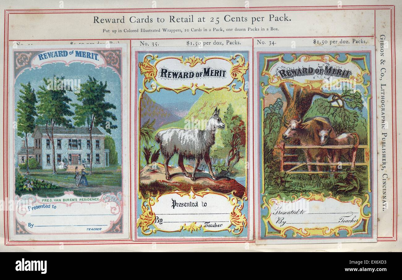 Highly coloured educational 'Reward Cards' for American children who have achieved high levels in school - Stock Image