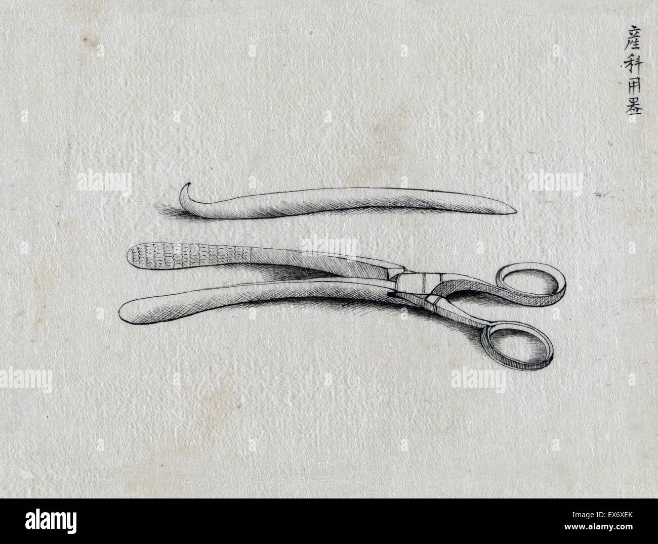 Scissor clamps and hooked probe. Unsigned, possibly by Kano, 1878. From the 'Medicine' series. - Stock Image