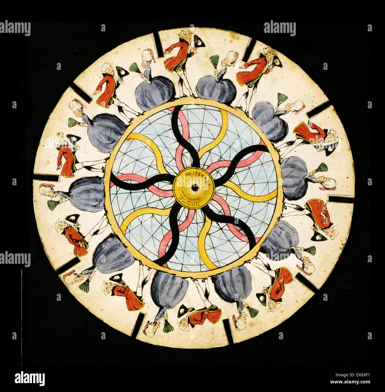 Zoetrope optical illusion disc which is spun displaying the illusion of motion of a man bowing and a woman curtsying - Stock Image