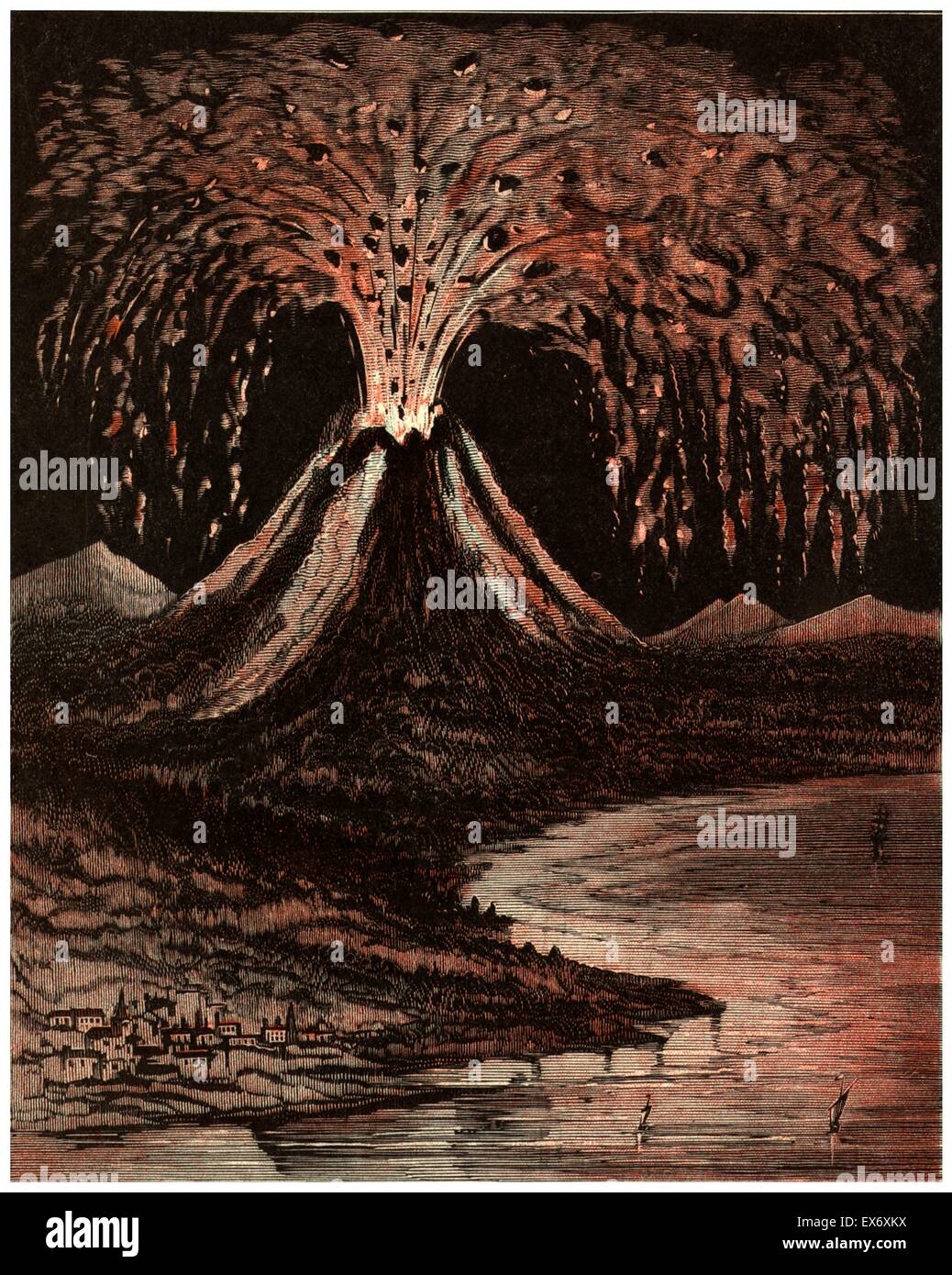 An American Illustration Of The Volcano Which Erupted At Vesuvius In