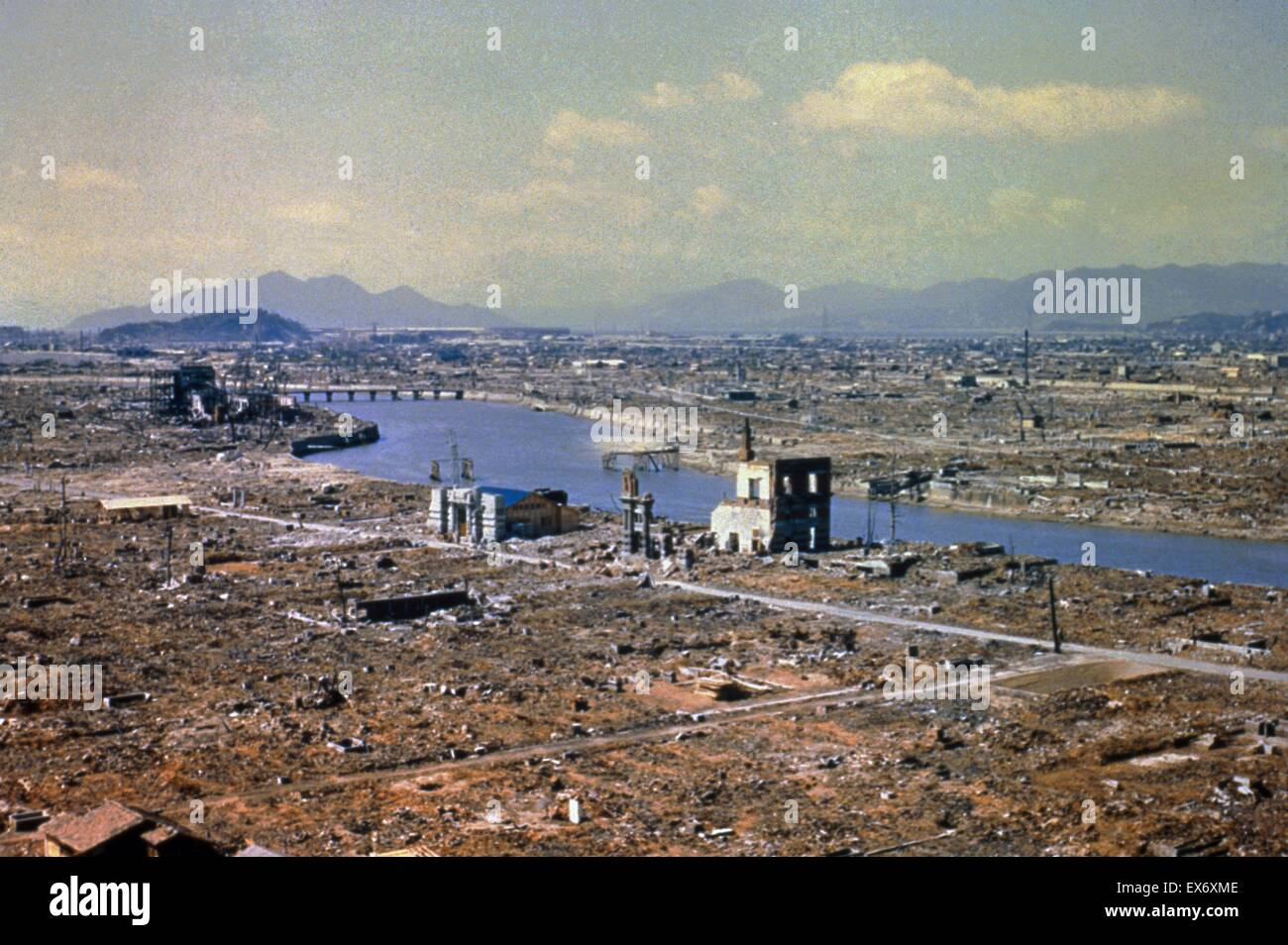 World War Two destruction after the atomic bomb was dropped on Hiroshima 1945 - Stock Image