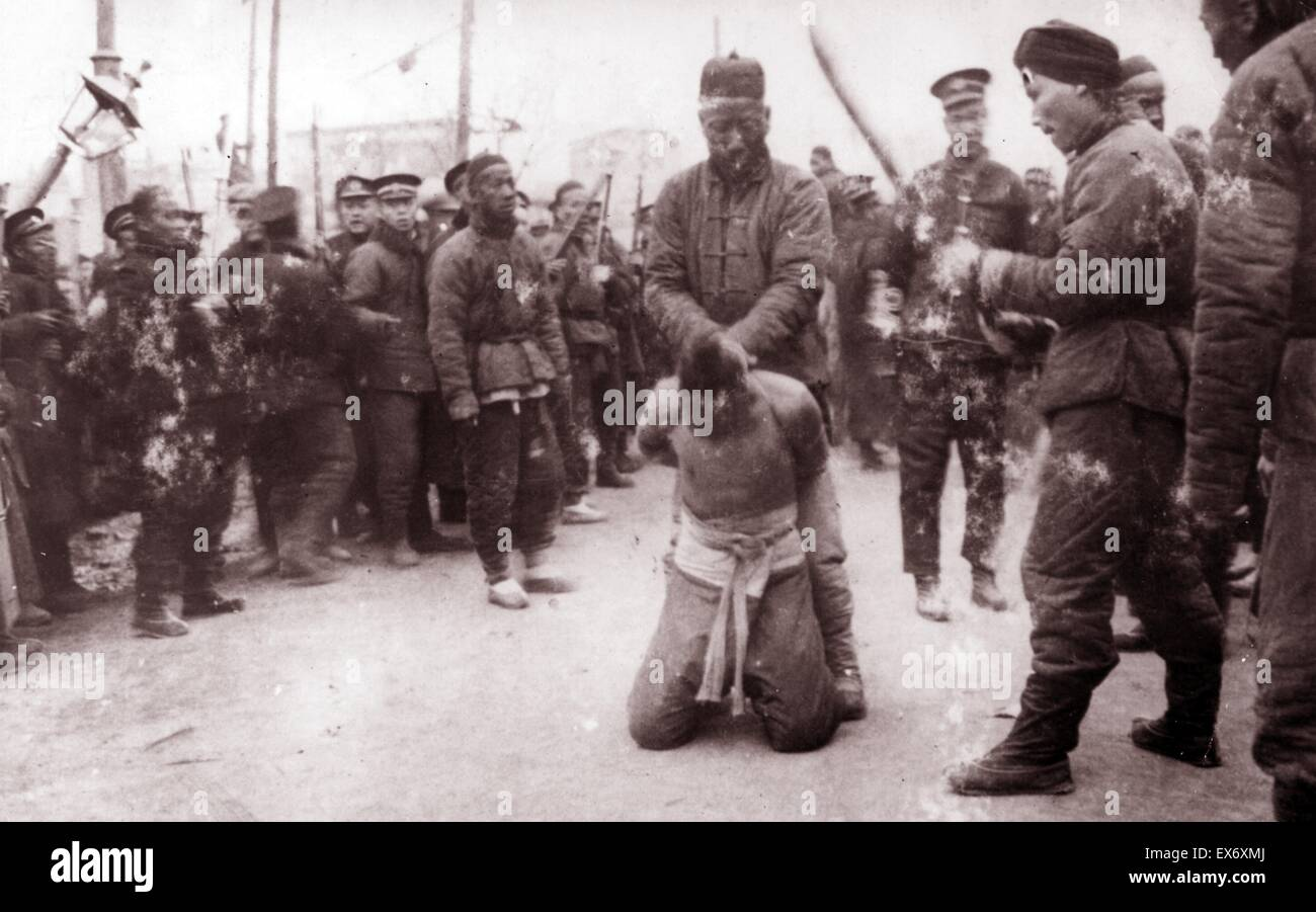 Execution of rebels in Beijing, China following the Boxer Rebellion. The Boxer Uprising or Yihetuan Movement was - Stock Image