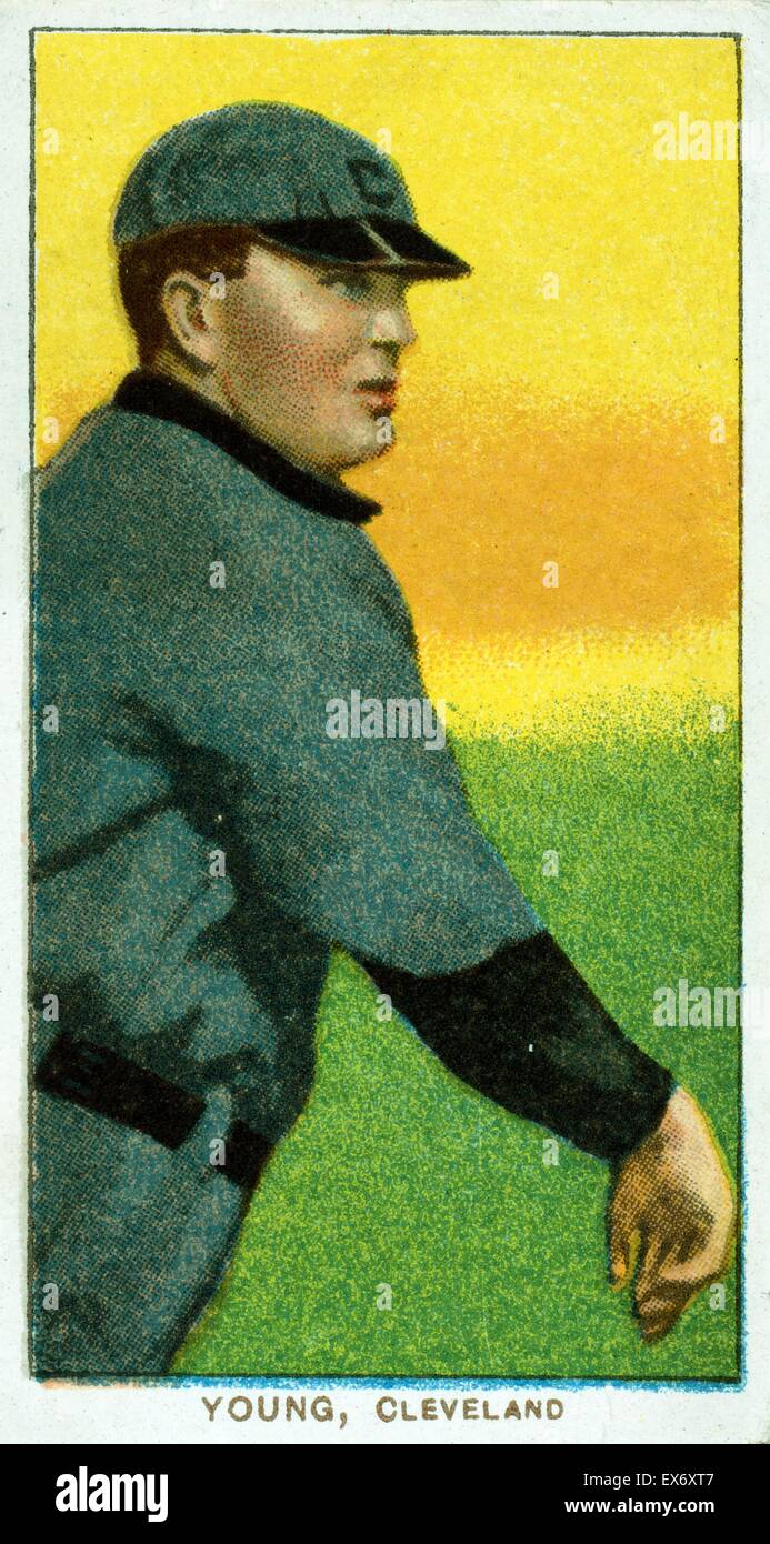Cy Young, Cleveland Naps, baseball card portrait. Sponsor: American tobacco company. - Stock Image