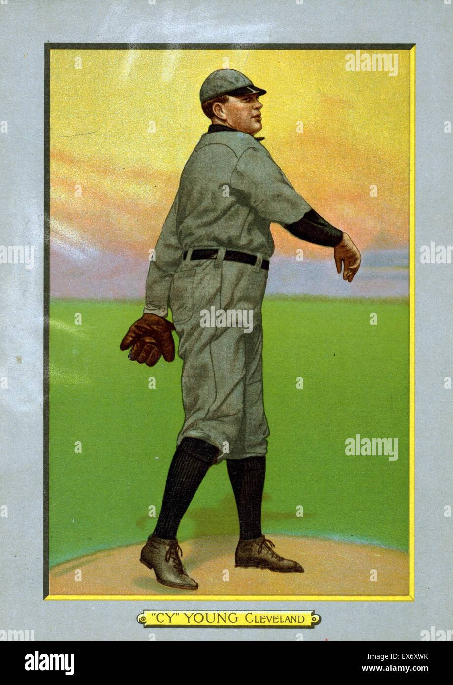 pitcher Cy Young (1867 - 1955) of the Cleveland Naps, baseball card portrait 1911. - Stock Image