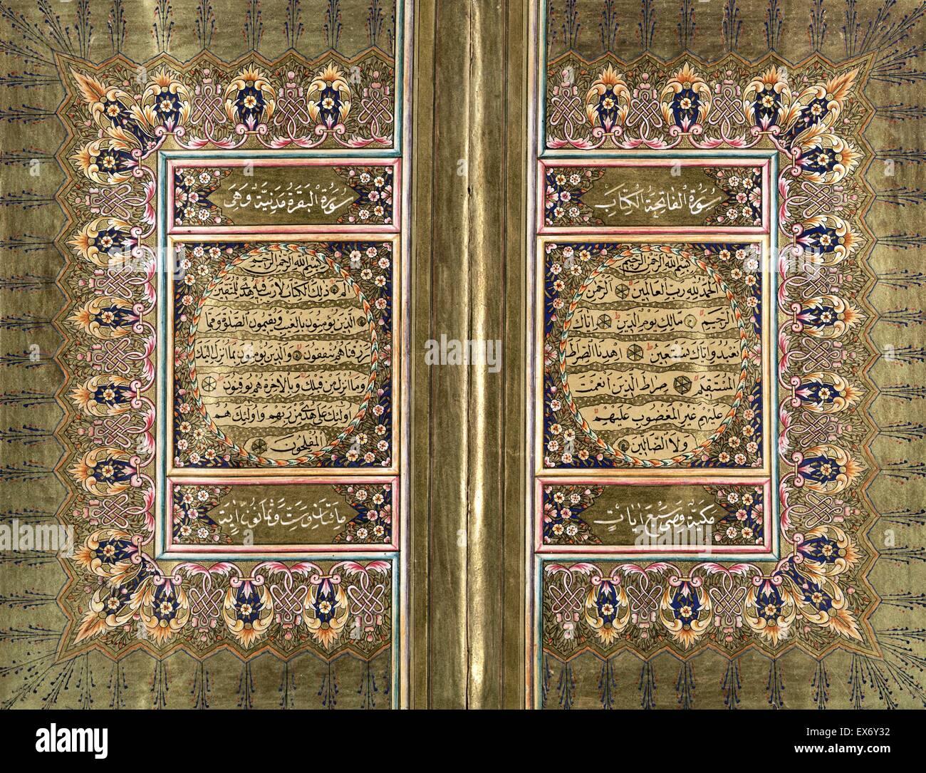 Ottoman Qur'an from 1869, written by Hajj Muhammad Sharif al-Ramzi, who was a student of Muhammad al-Hilmi. - Stock Image