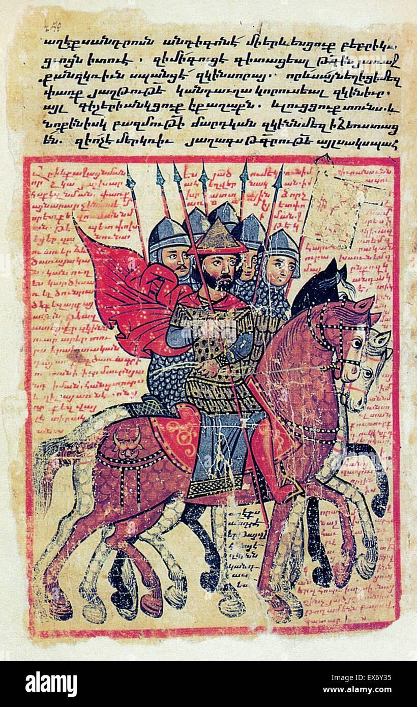 Military scene from a fourteenth-century Armenian manuscript (source: La Storia di Alessandro il Macedone. Codice - Stock Image