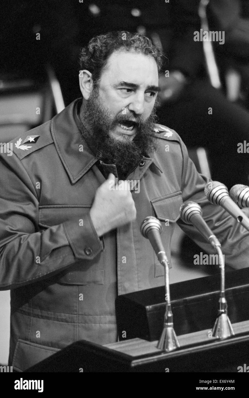 Fidel Castro the revolutionary communist Cuban leader addressing a congress in Havana circa 1980 - Stock Image