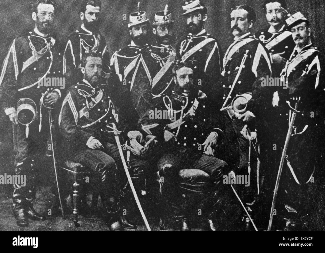 Group Of Spanish Army Officers In Dress Uniforms Circa 1890 Stock Photo Alamy