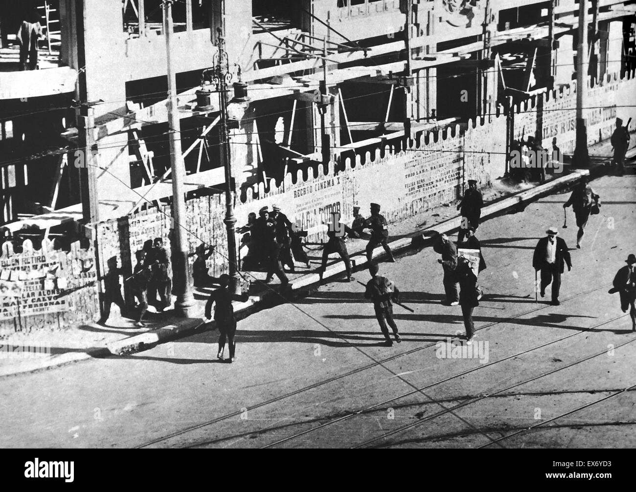 Soldiers attack a group of revolutionary strikers in Madrid, during the general strike in Spain in 1917. the general Stock Photo