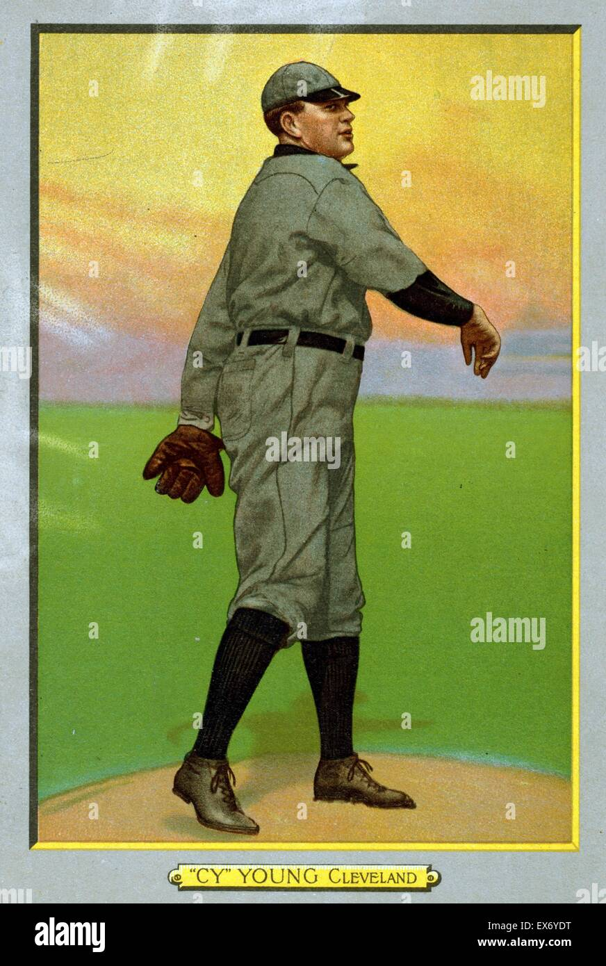 Cy Young, Cleveland Naps, baseball card portrait - Stock Image