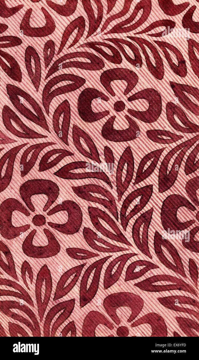 Textile design with flower motif. From 'Textile Arts' series. - Stock Image