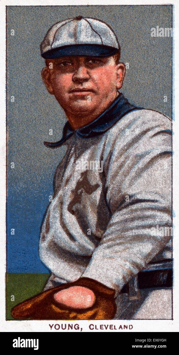Cy Young, Cleveland Naps, baseball card portrait. Sponsor : American tobacco company. - Stock Image